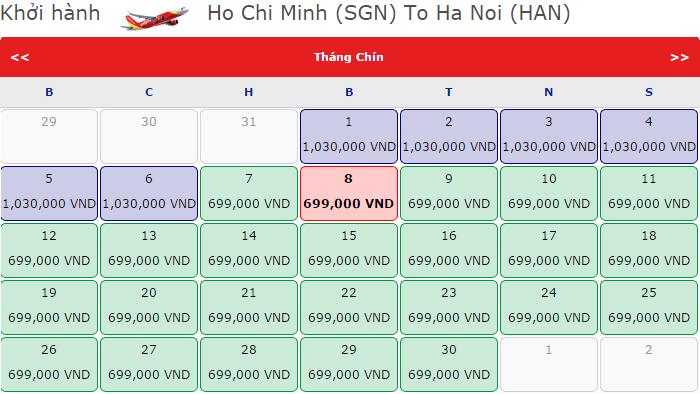 Chặng bay Hà Nội - TP HCM