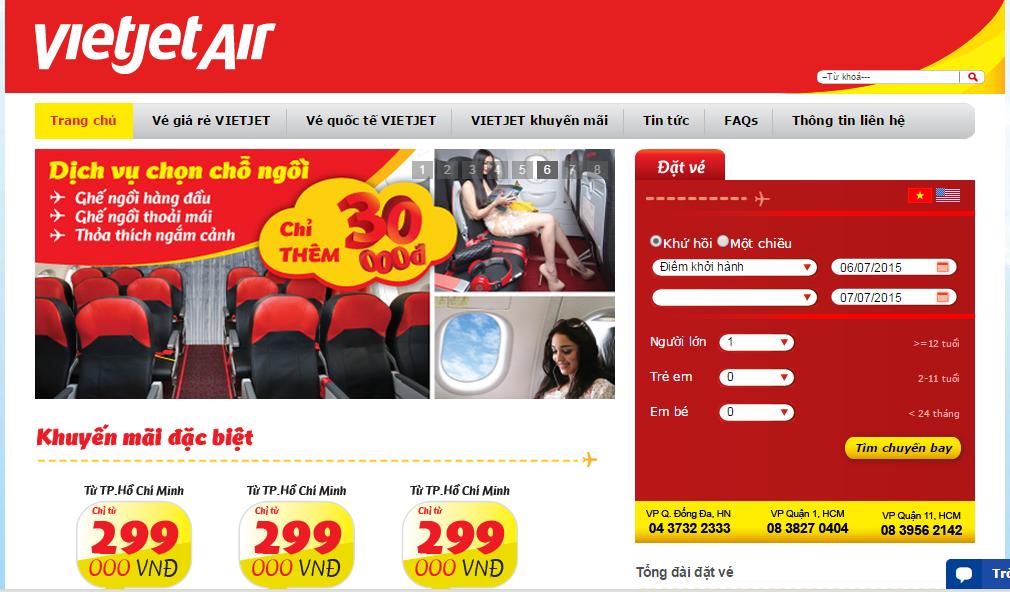 Đặt mua vé máy bay VietJet Air giá rẻ tại Vietnam Booking