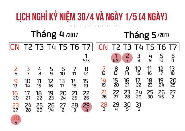 thong bao lich nghi chinh thuc le 30/04/2017