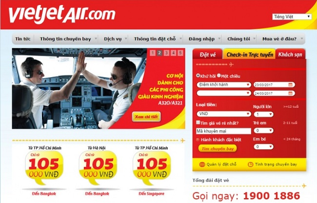 website hang vietjet air